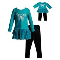 Girls 4-14 Dollie & Me Butterfly Top & Leggings Set