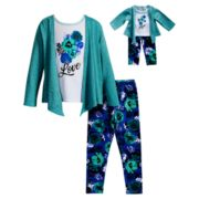 "Girls 4-14 Dollie & Me Knit Cardigan, ""Love"" Tee & Leggings Set"