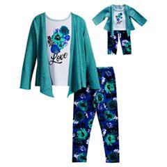 Girls 4-14 Dollie & Me Knit Cardigan, 'Love' Tee & Leggings Set