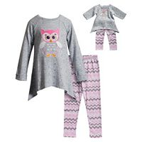 Girls 4-14 Dollie & Me Owl Top & Leggings Set