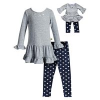 Girls 4-14 Dollie & Me Ruffle Top & Leggings Set