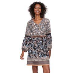 Women's MSK Floral Crochet Trim Shift Dress