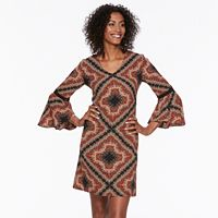 Women's MSK Print Bell-Sleeve Shift Dress