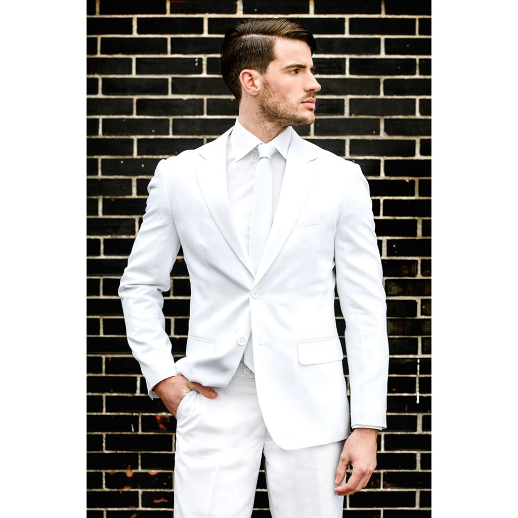 Men's OppoSuits Slim-Fit White Novelty Suit & Tie Set