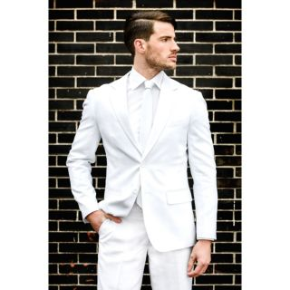 Men's OppoSuits Slim-Fit White Novelty Suit & Tie Set