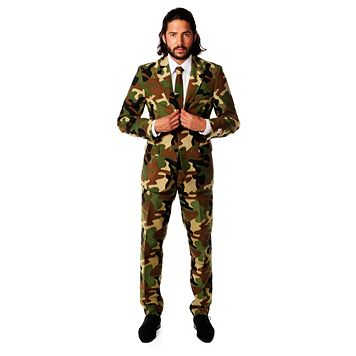 Men's OppoSuits Slim-Fit Commando Camouflage Suit & Tie Set