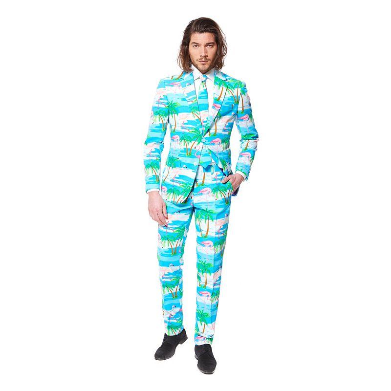 Men's OppoSuits Slim-Fit Flaminguy Suit & Tie Set, Size: 44 - regular, Blue Pink