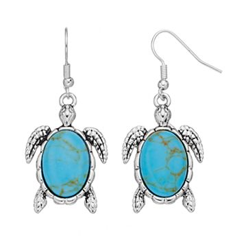Simulated Turquoise Turtle Nickel Free Drop Earrings
