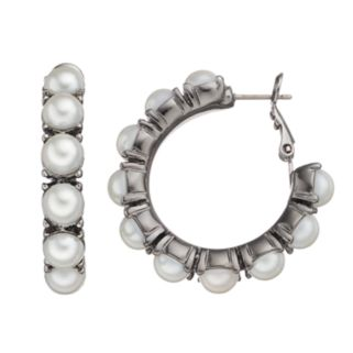 Simply Vera Vera Wang Simulated Pearl Nickel Free Hoop Earrings