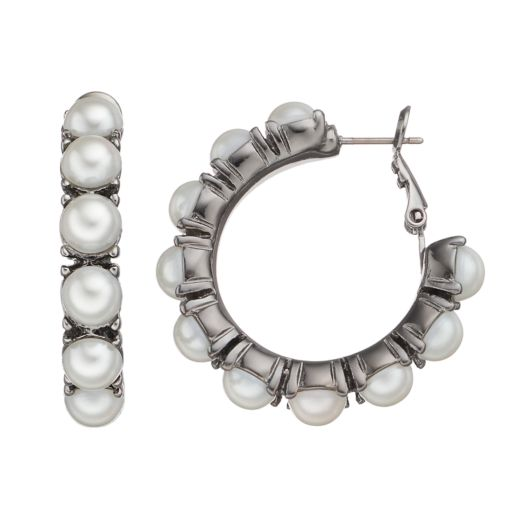 Simply Vera Vera Wang Simulated Pearl Nickel Free Hoop Earrings