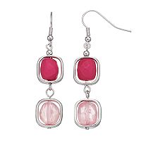 Pink Orbital Bead Nickel Free Linear Drop Earrings