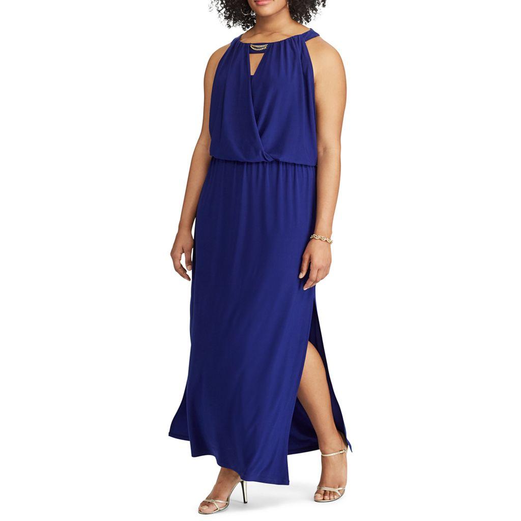 Plus Size Chaps Keyhole Surplice Maxi Dress