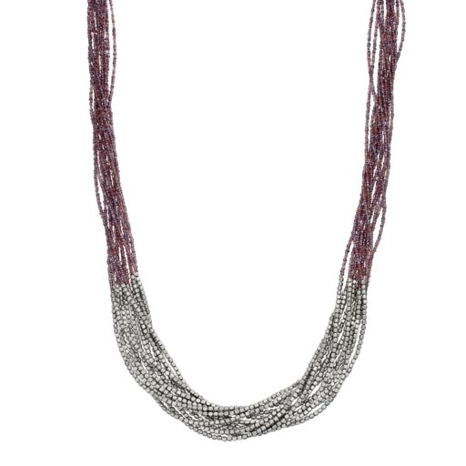 Long Purple Seed Bead Multi Strand Necklace