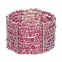 Purple Seed Bead Multi Row Stretch Bracelet