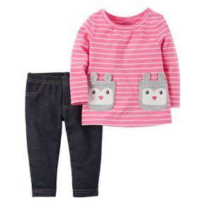Baby Girl Carter's Striped Rabbit Pocket Tee & Jegging Set