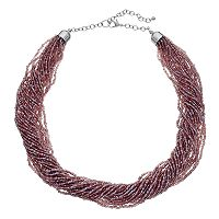 Purple Seed Bead Torsade Necklace