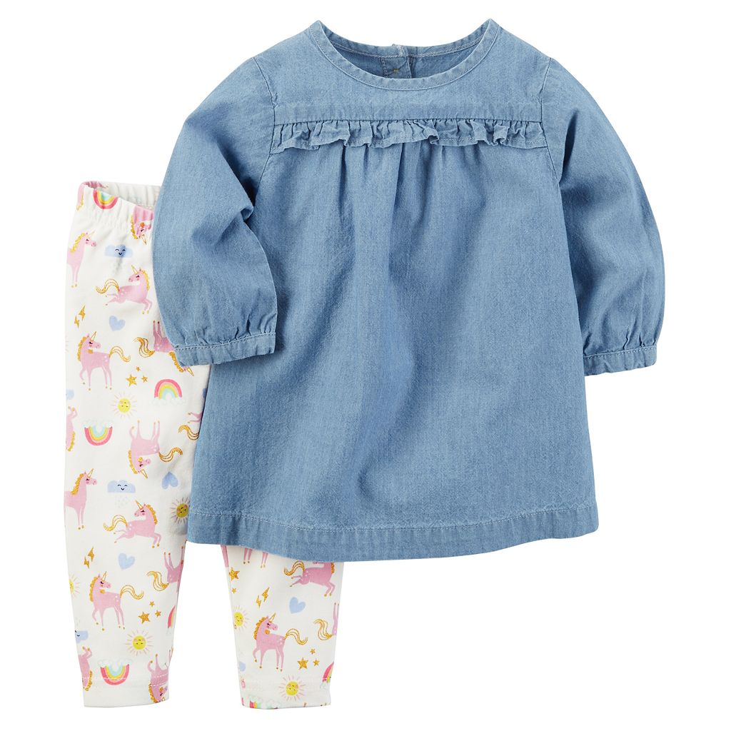 Baby Girl Carter's Chambray Top & Unicorn Legging Set