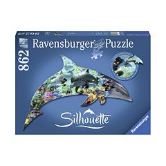 Ravensburger 862 pc Dolphin World Silhouette Shaped Puzzle