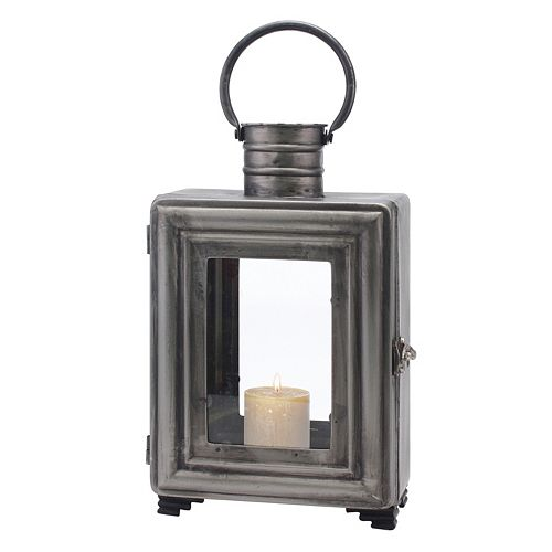Stonebriar Collection Industrial Lantern Pillar Candle Holder