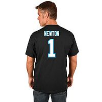 Big & Tall Majestic Carolina Panthers Cam Newton Name and Number Tee