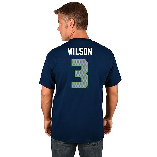 Big & Tall Majestic Seattle Seahawks Russell Wilson Name and Number Tee