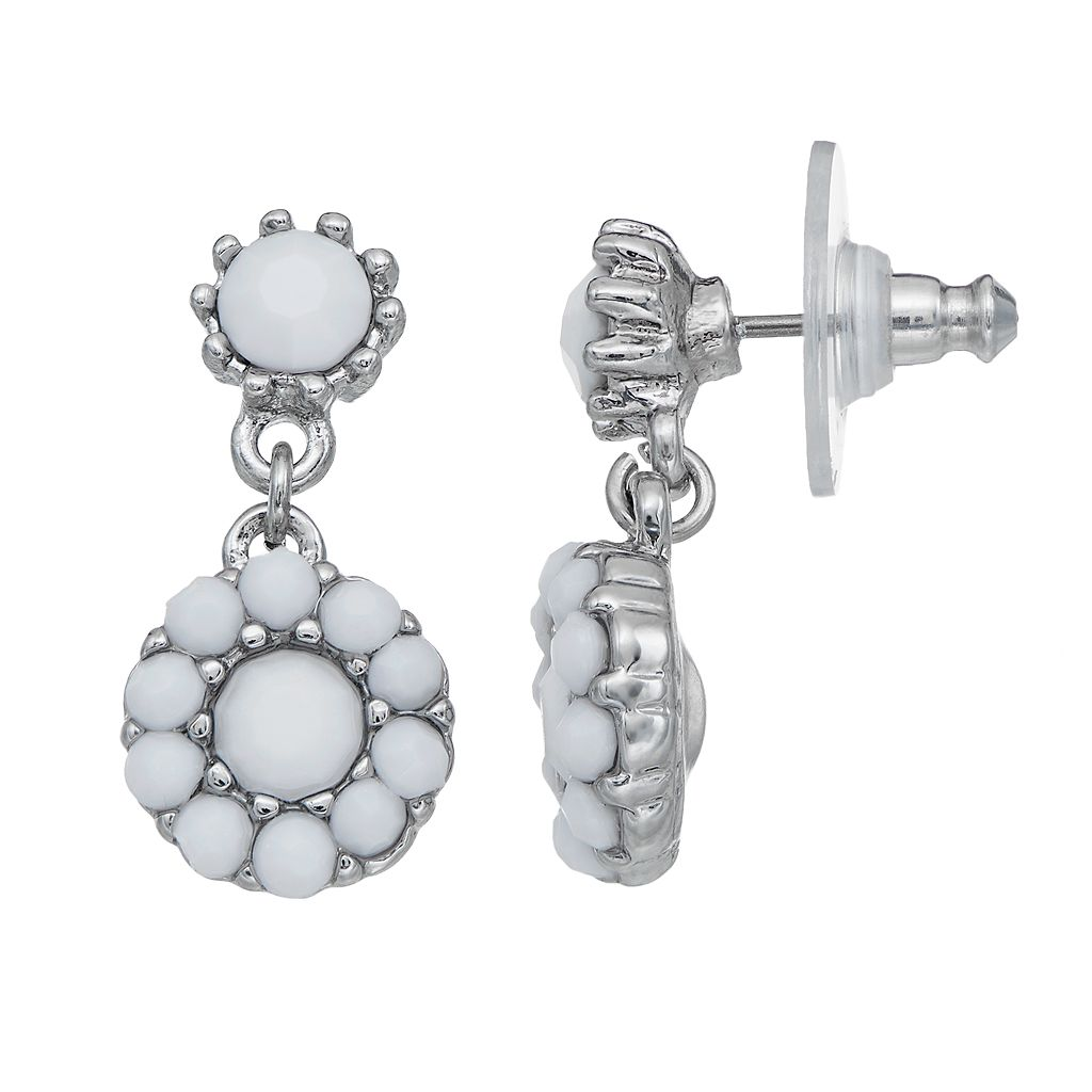 Simply Vera Vera Wang Nickel Free Round Halo Drop Earrings