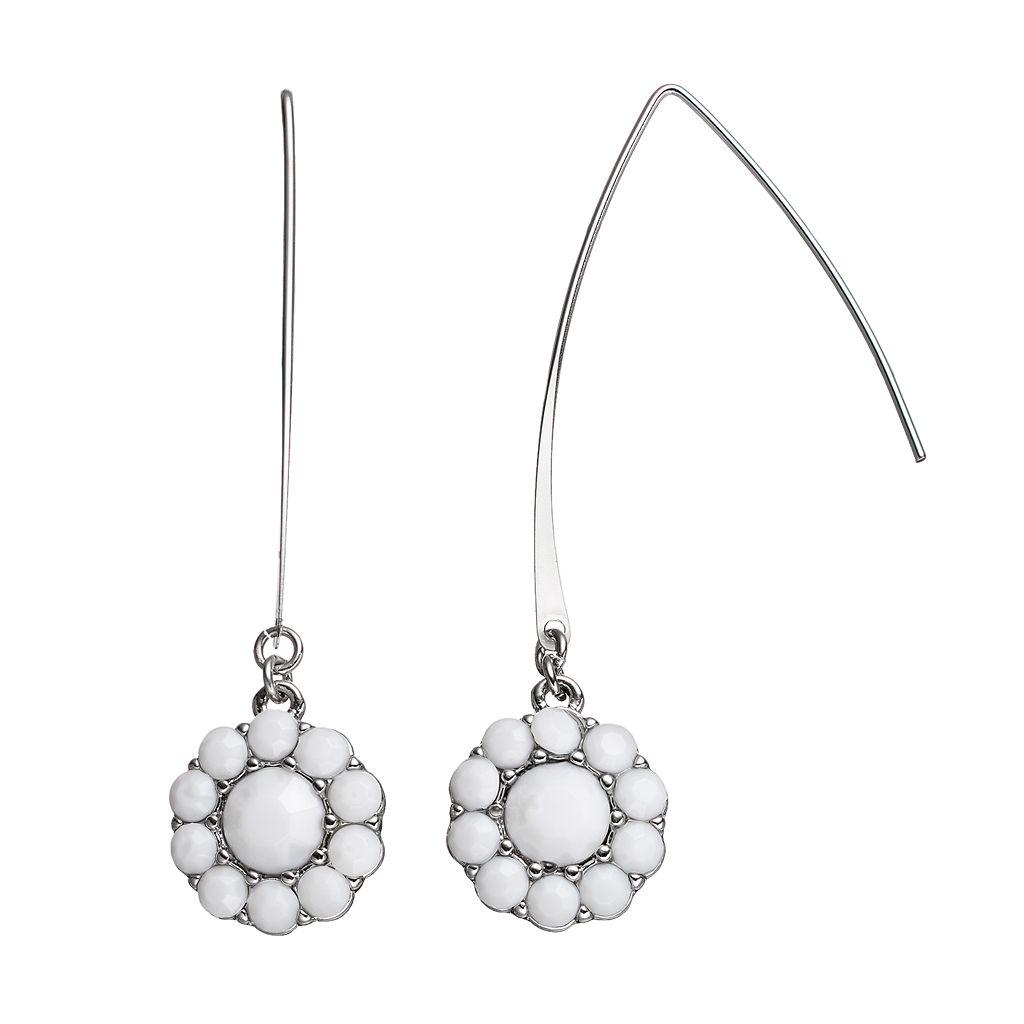 Simply Vera Vera Wang Round Halo Nickel Free Threader Earrings
