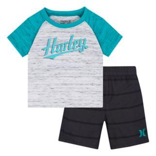 Baby Boy Hurley Raglan Logo Graphic Tee & Striped Shorts Set