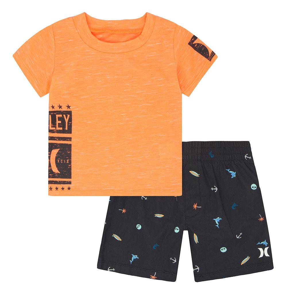Baby Boy Hurley Logo Graphic Tee & Shorts Set