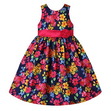 Girls 7-16 American Princess Navy Floral Dress