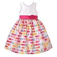 Girls 7-16 American Princess Floral Burnout Stripe Skirt Tea Length Dress