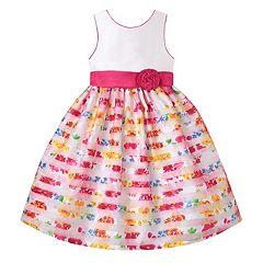 Girls 7-16 American Princess Floral Burnout Stripe Skirt Tea Length Dress