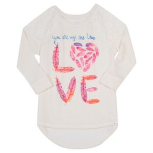 Girls Plus Size Harper & Elliott Lace Raglan Graphic Tee