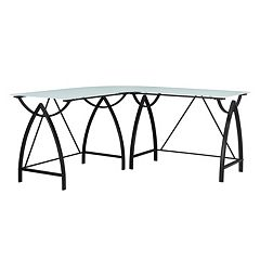 Altra Lacklan Glass Top L-Shaped Desk