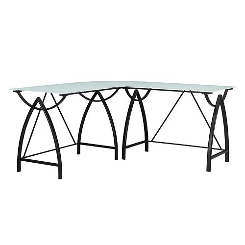 Altra Lacklan Glass Top L-Shaped Desk