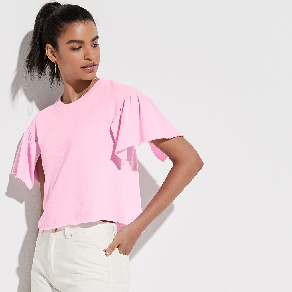 k/lab Ruffle Sleeve Sweatshirt