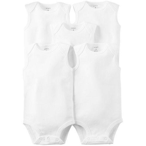 Baby Carter's 5-pk. Sleeveless White Bodysuits