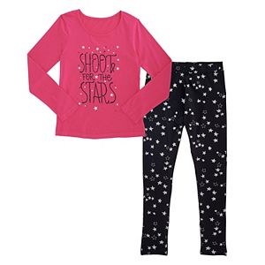 Girls Plus Size French Toast Long Sleeve Graphic Tee & Coordinating Leggings Set