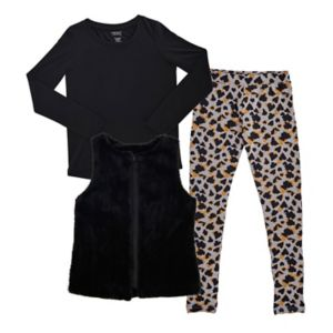 Girls 7-16 French Toast Faux-Fur Vest, Tee & Animal Printed Leggings Set