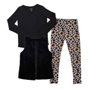 Girls 7-16 French Toast Faux-Fur Vest, Tee & Animal Printed Leggings Set