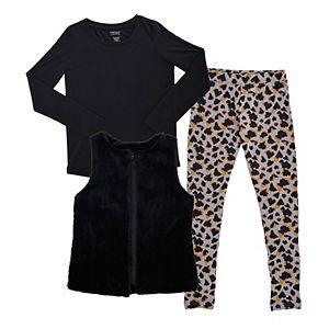 Girls Plus Size French Toast Faux-Fur Vest, Tee & Animal Printed Leggings Set