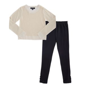 Girls Plus Size French Toast Gold Lurex Sweater & Bow Leggings Set