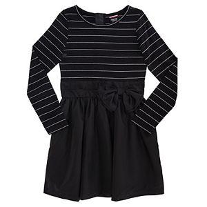 Girls Plus Size French Toast Lurex Striped Knee-Length Dress