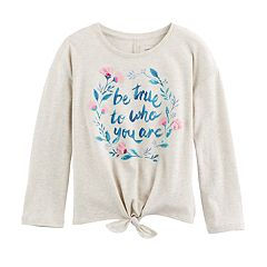 Girls 4-12 SONOMA Goods for Life™ Graphic Long-Sleeve Tie-Front Tee