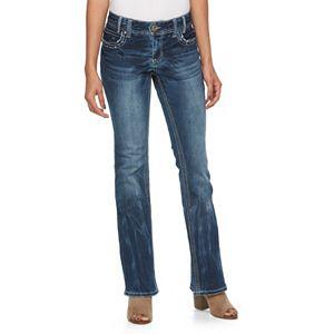 Juniors' Amethyst Embellished Flare Jeans