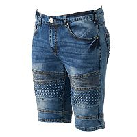 Men's XRAY Slim-Fit Moto Embossed Stretch Denim Shorts