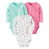 Baby Girl Carter's 3-pk. Solid & Print Kimono Tees
