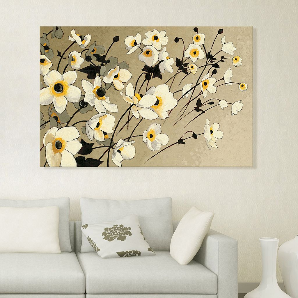 Artissimo Designs Anemones Japonaises Blancs Canvas Wall Art