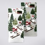 St. Nicholas Square® Skiing Snowman Kitchen Towel 2-pk.