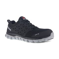Reebok Sublite Cushion Work Men s EH Alloy Toe Sneakers. Black Gray 20cddf998